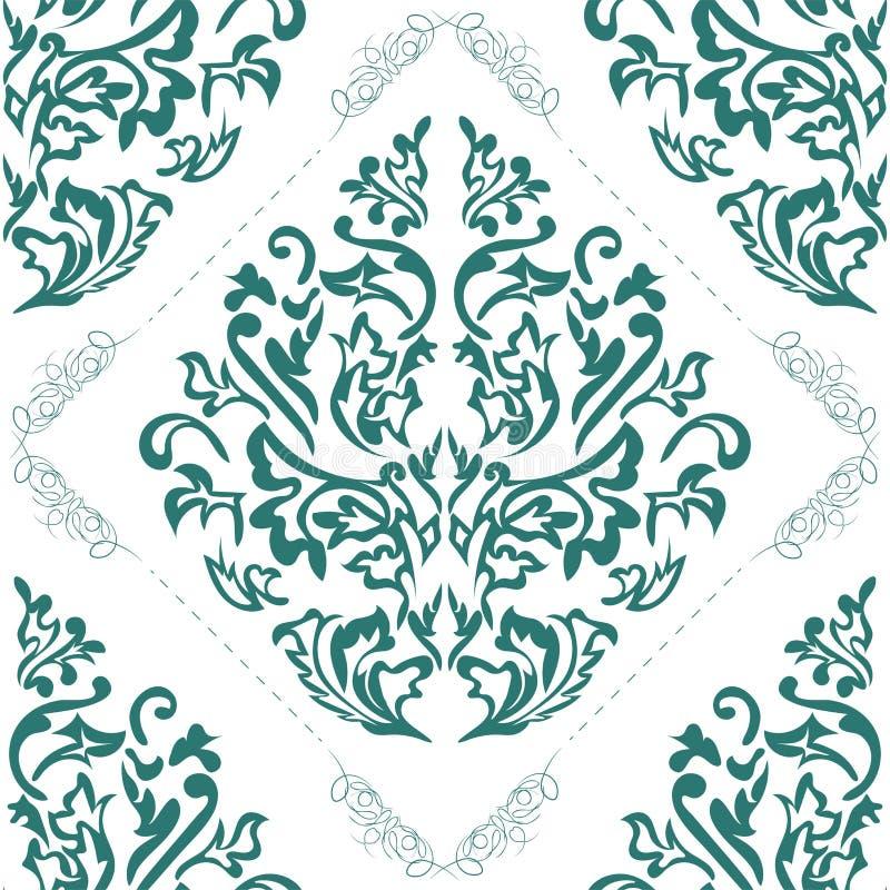 Elemento senza cuciture del modello del damasco di vettore Ornamento classico del damasco, struttura senza cuciture vittoriana re illustrazione vettoriale