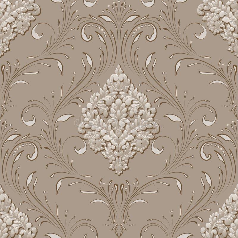 Elemento senza cuciture del modello del damasco volumetrico di vettore Il lusso elegante ha impresso la struttura per le carte da illustrazione vettoriale