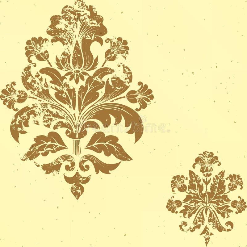 Elemento senza cuciture del reticolo del damasco dell'annata di vettore. illustrazione vettoriale