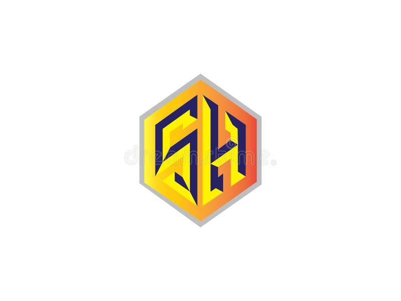 Elemento SH de Logo Vector Graphic Branding Letter del diseño de la letra inicial stock de ilustración