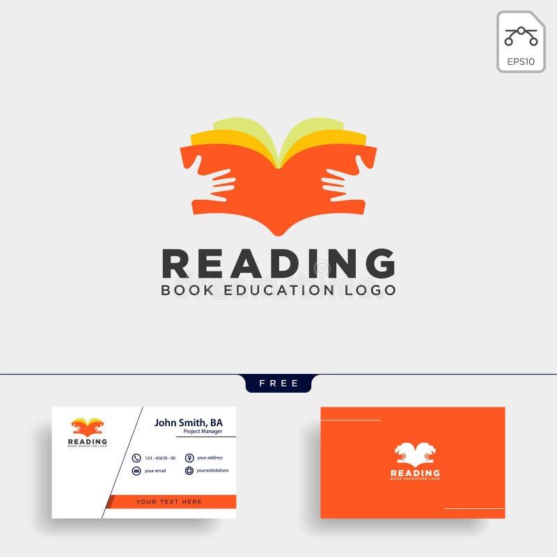elemento simple del icono del ejemplo del vector de la plantilla del logotipo de la educación de la revista del libro de lectura stock de ilustración