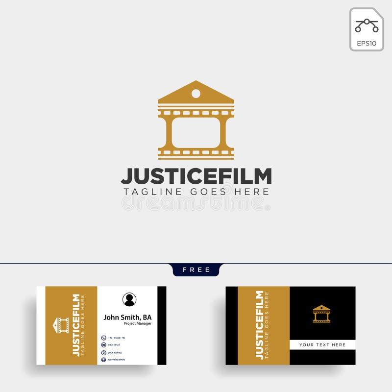 elemento simple del icono del ejemplo del vector de la plantilla del logotipo de la película del hogar del cine de la justicia stock de ilustración