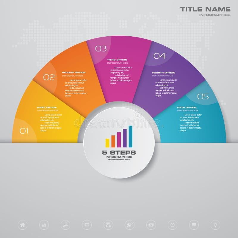 elemento simple&editable di infographics del grafico trattato di 5 punti illustrazione di stock