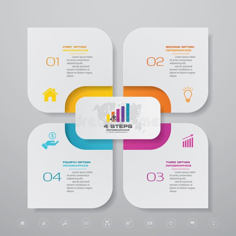 elemento simple&editable di infographics del grafico trattato di 4 punti illustrazione di stock