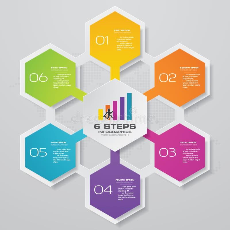 elemento simple&editable do infographics da carta de processo de 6 etapas ilustração royalty free