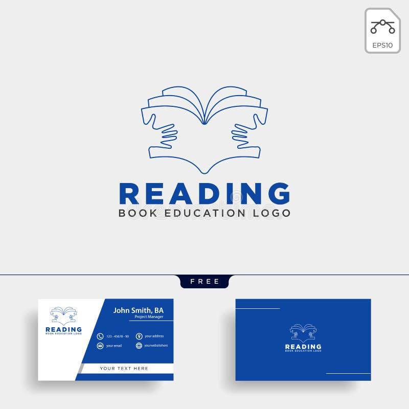 elemento simples do ícone da ilustração do vetor do molde do logotipo da educação do compartimento do livro de leitura ilustração stock