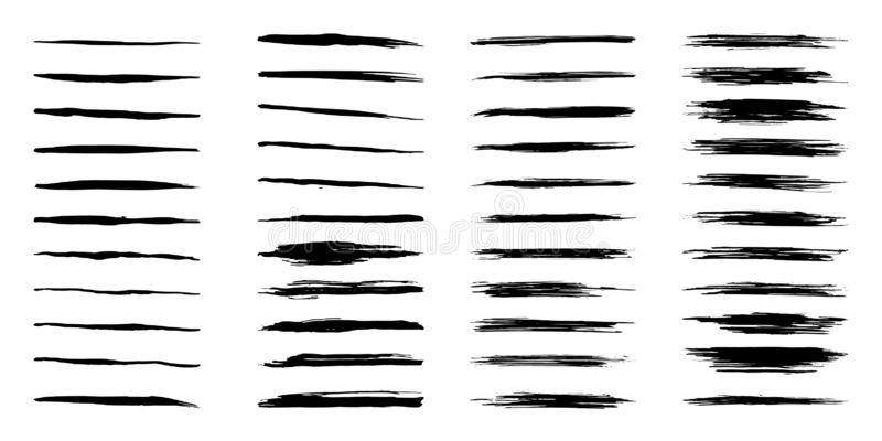 Elemento sporco nero di progettazione della raccolta 44 Colpo della spazzola di lerciume, insieme artistico della pittura Raccolt illustrazione vettoriale