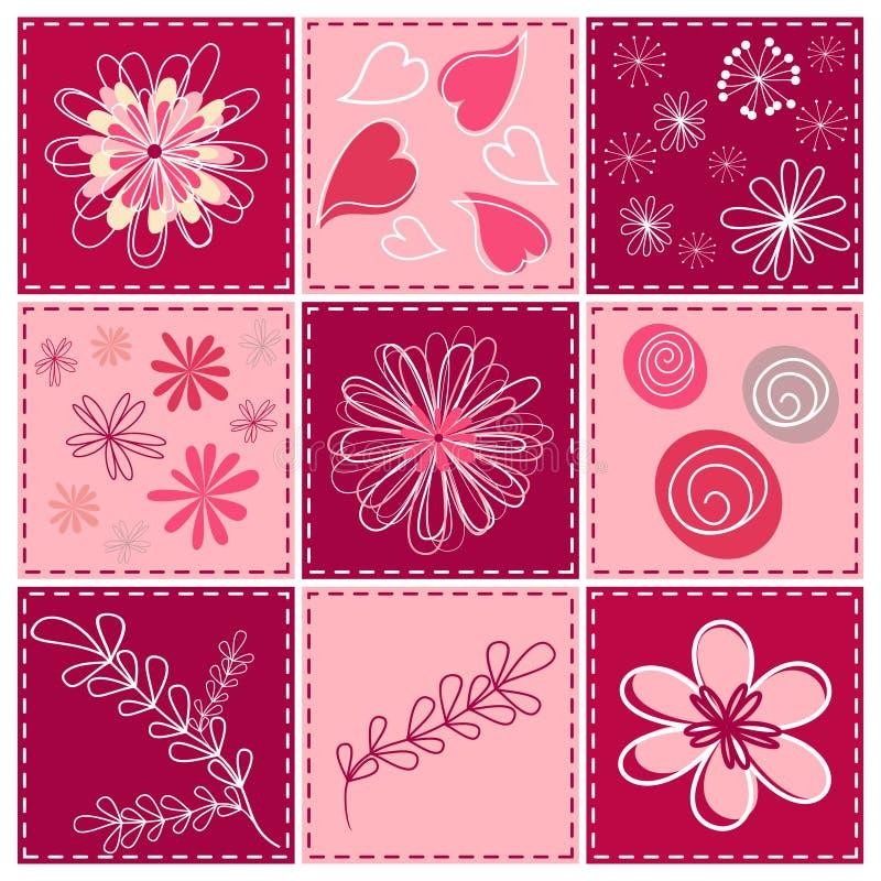 Elemento stabilito di disegno floreale. illustrazione di stock