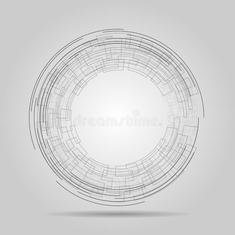 Elemento tecnologico della maglia di Wireframe Turbinio astratto dalle linee Illustrazione di vettore fotografie stock libere da diritti