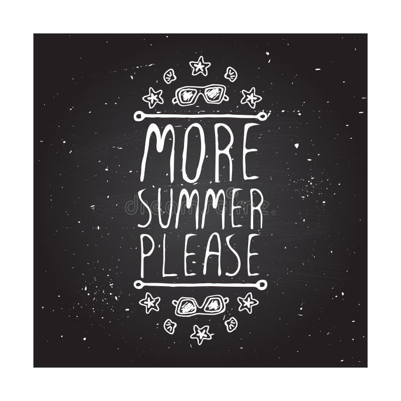 elemento tipográfico Mão-esboçado com óculos de sol, shell e estrela do mar ilustração stock