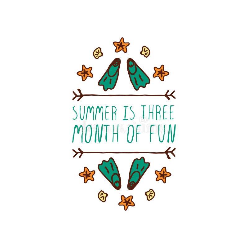 elemento tipográfico Mão-esboçado com aletas e estrela do mar ilustração royalty free