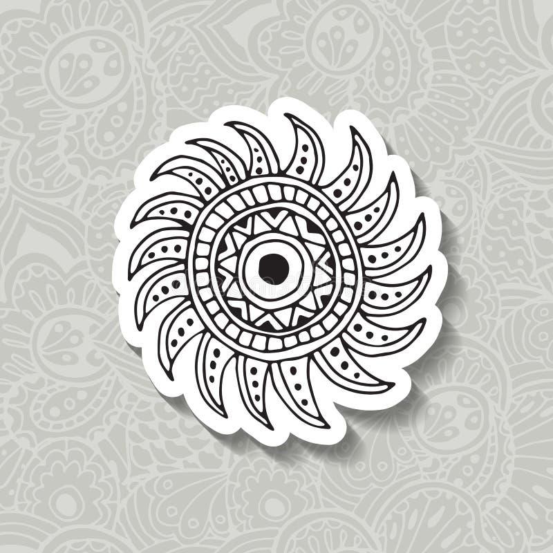Elemento tirado mão da circular de Boho da ilustração do vetor ilustração do vetor
