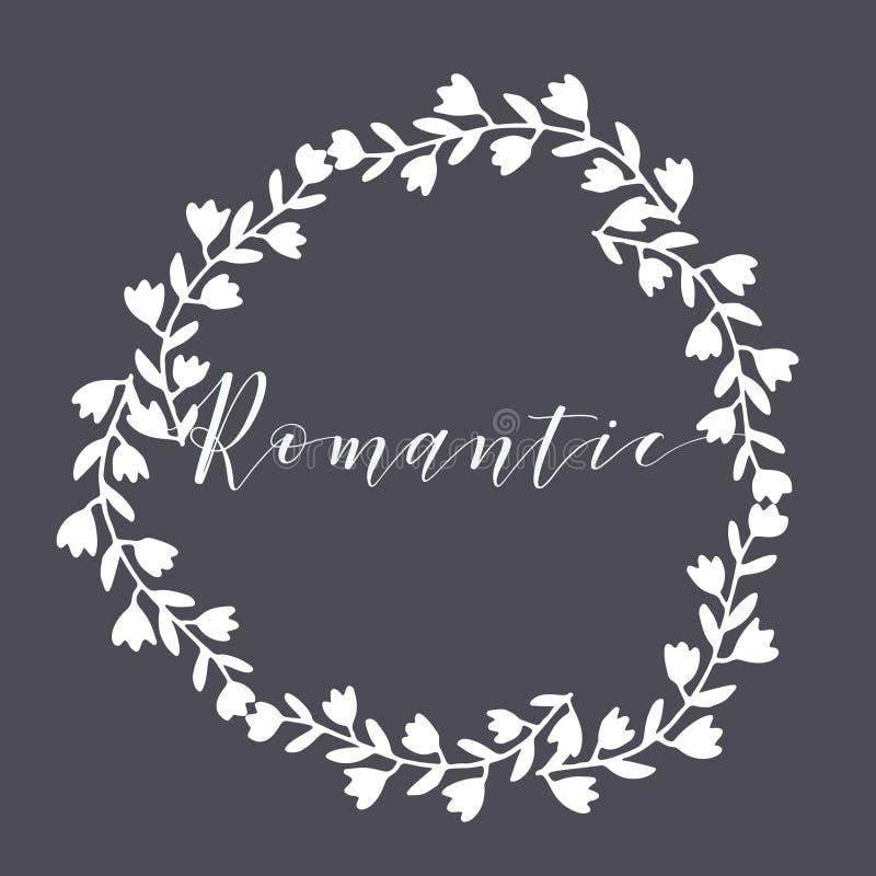 Elemento tirado mão floral do quadro ou do monograma A garatuja ramifica ilustração da beira para convites, cartão ou menu do cas ilustração do vetor