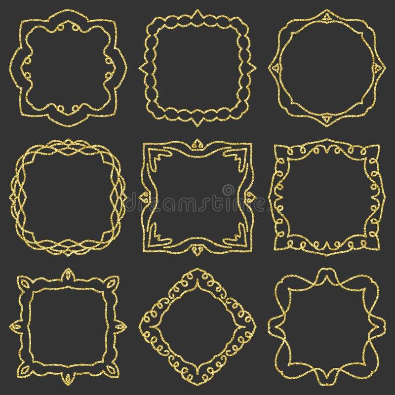 Elemento tirado para quadros, logotipo da garatuja mão ajustada, ioga, projeto étnico Ouro, brilho, brilho Ajuste nenhum 12 de 9  ilustração royalty free