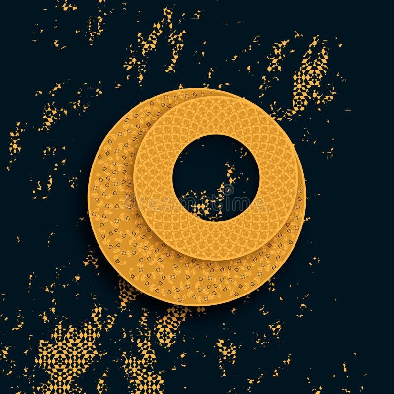 Elemento tradizionale islamico arabo di progettazione della luna di vettore con gli ornamenti geometrici dorati e la copertura d' illustrazione vettoriale