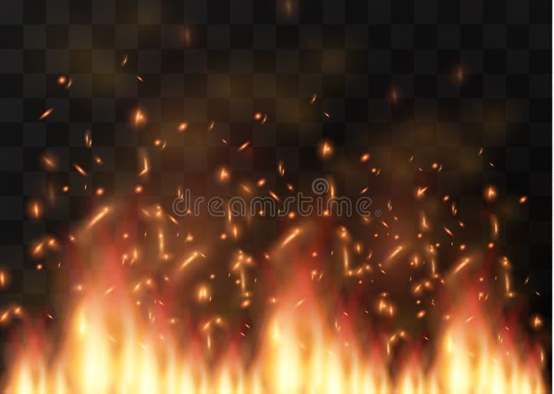 Elemento transparente do efeito especial do fogo realístico do vetor Uma chama quente está estourando Fogueira Folha de prova do  ilustração royalty free
