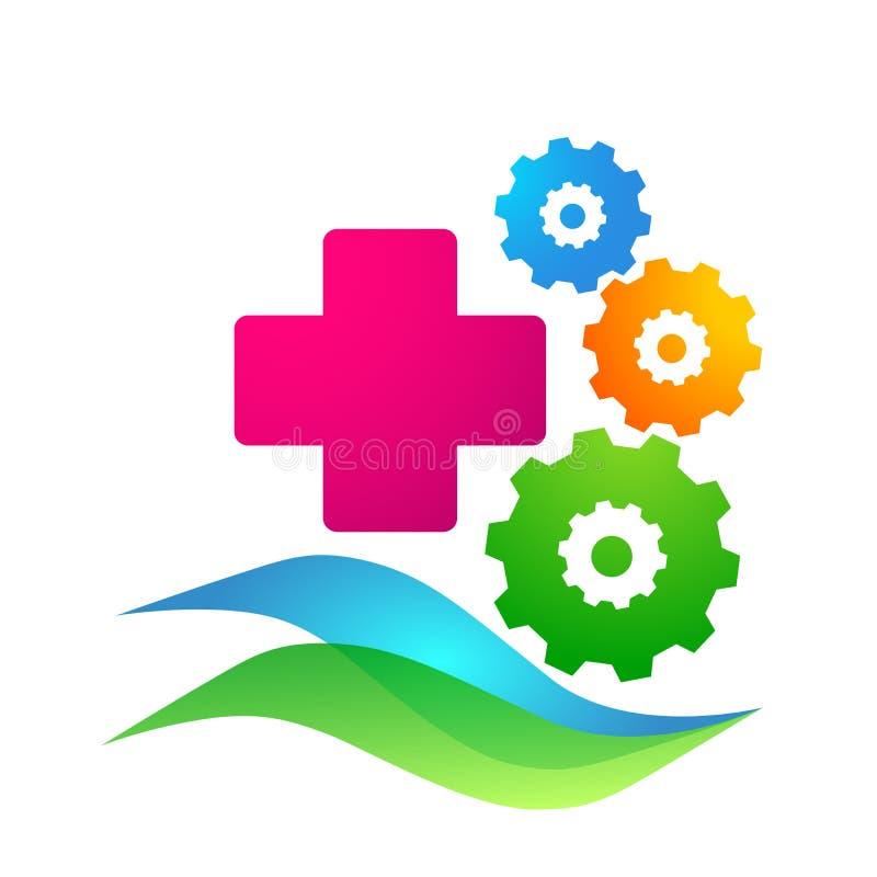 Elemento transversal do vetor do ícone do logotipo da engrenagem dos cuidados médicos médicos no fundo branco ilustração stock