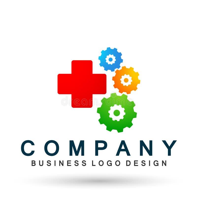 Elemento transversal do vetor do ícone do logotipo da engrenagem dos cuidados médicos médicos no fundo branco ilustração royalty free