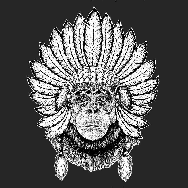 Elemento tribal del ceremonial del sombrero del chamán del tocado indio étnico tradicional del boho del mono del chimpancé stock de ilustración