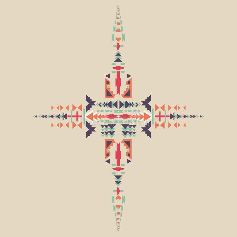 Elemento tribale in scaletta azteca, progettazione tribale isolata su fondo pastello Motivi indiani americani illustrazione vettoriale