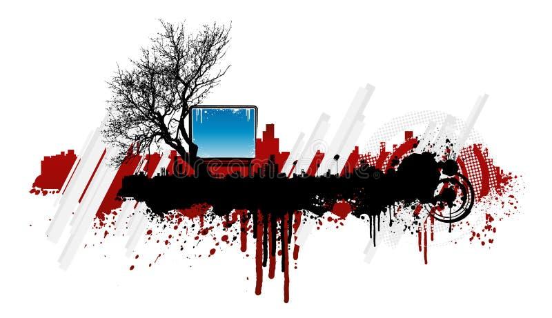 Elemento urbano floral do projeto do splatter de Grunge ilustração royalty free