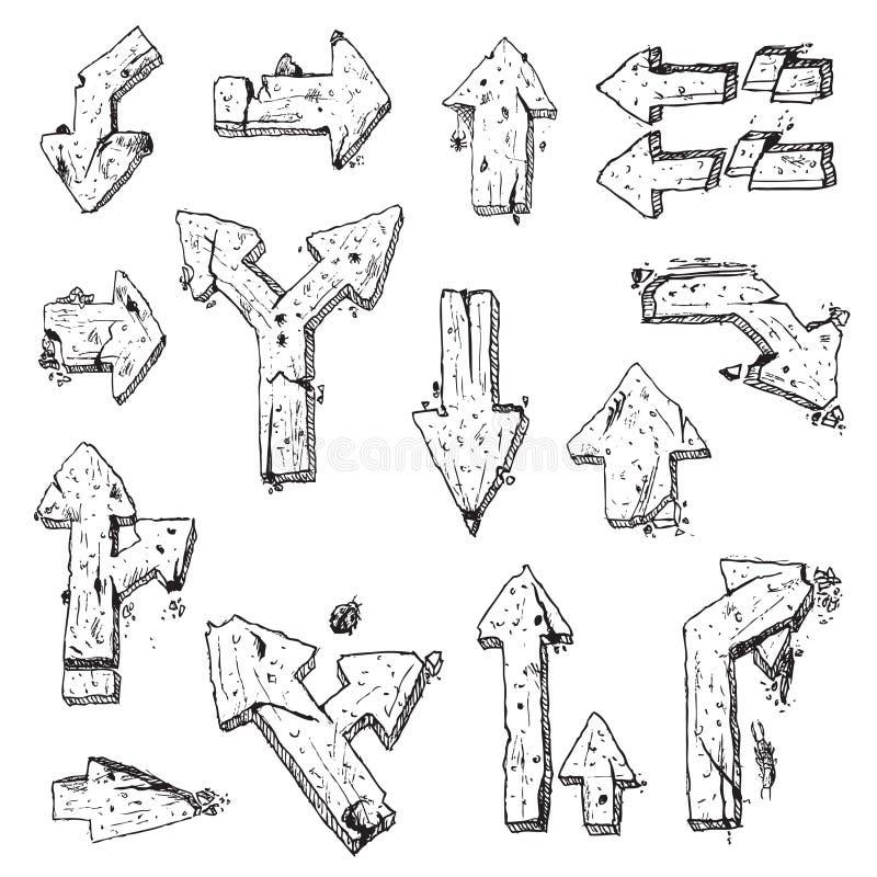 Elemento velho da tração da mão das setas   ilustração royalty free