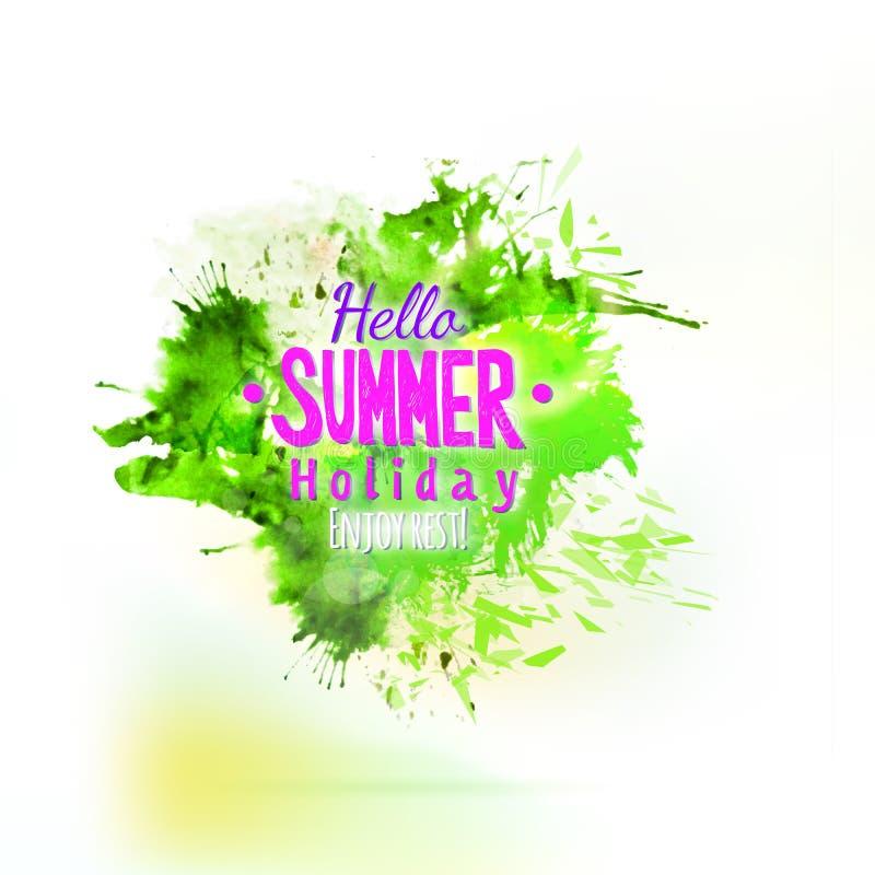 Elemento verde astratto della spruzzata dell'acquerello di estate royalty illustrazione gratis