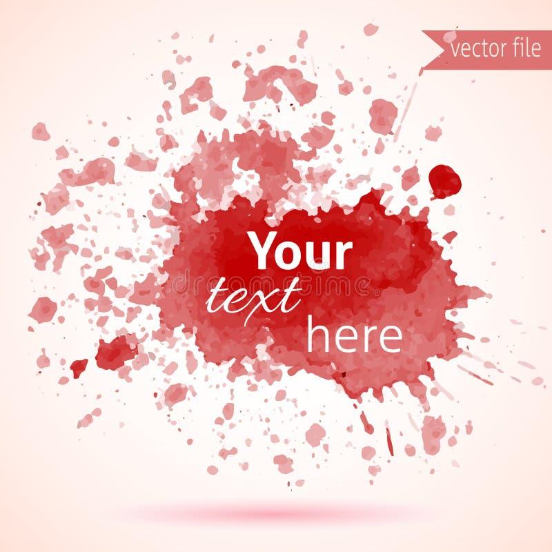 Elemento vermelho do projeto da mancha da aquarela para seu texto ilustração royalty free