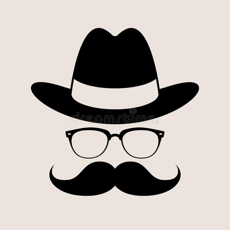Elemento, vetri, cappello e baffi di stile dei pantaloni a vita bassa illustrazione di stock