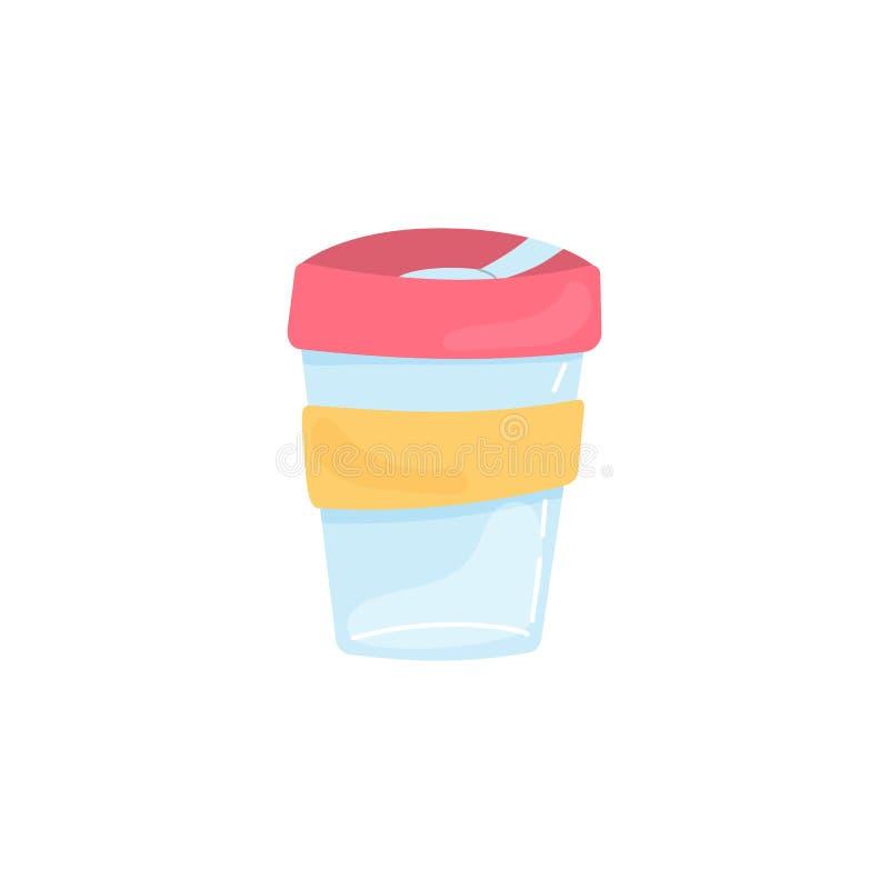 Elemento Zero Waste - thermo mug Traga seu próprio copo Sem plástico Ilustração vetorial desenhada à mão isolada em branco ilustração do vetor