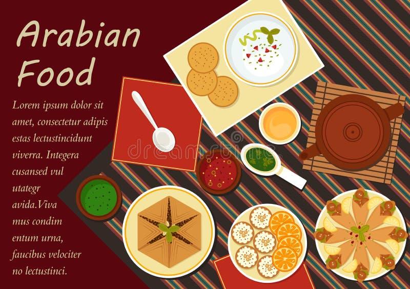 Elementos árabes tradicionais do menu da culinária ilustração stock