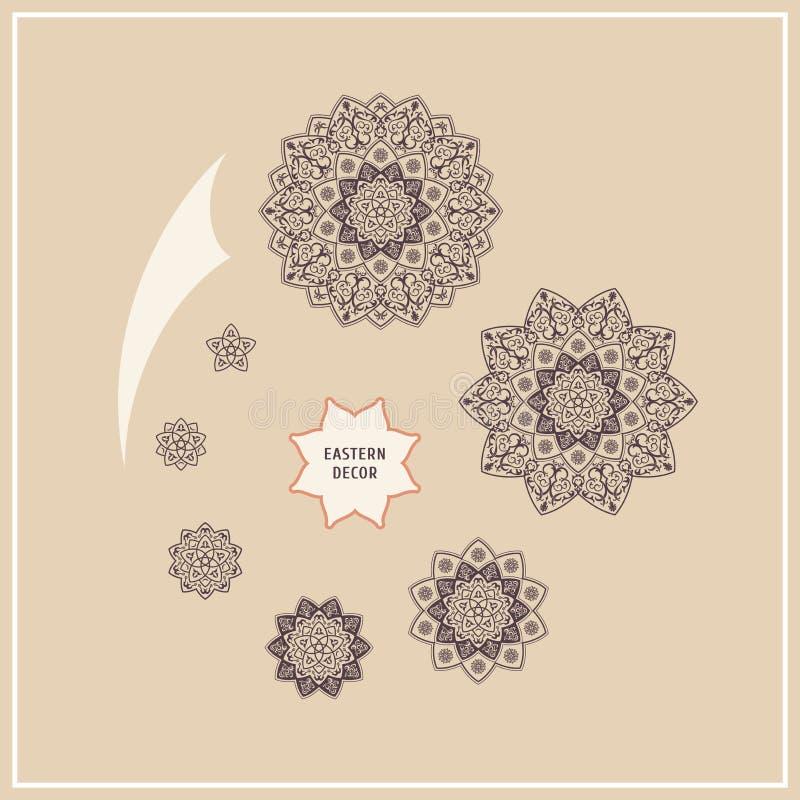 Elementos étnicos ajustados do design floral Logotipo do vetor ao estilo de uma mandala ilustração stock