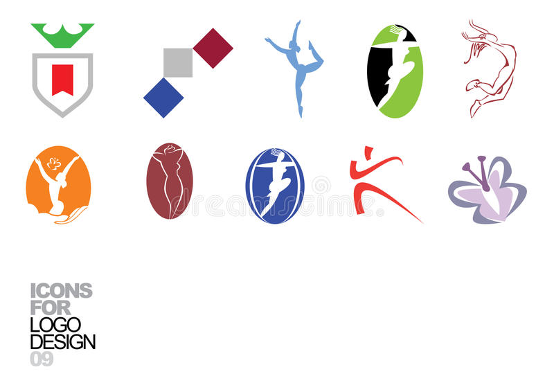 Elementos 09 del vector del diseño de la insignia ilustración del vector