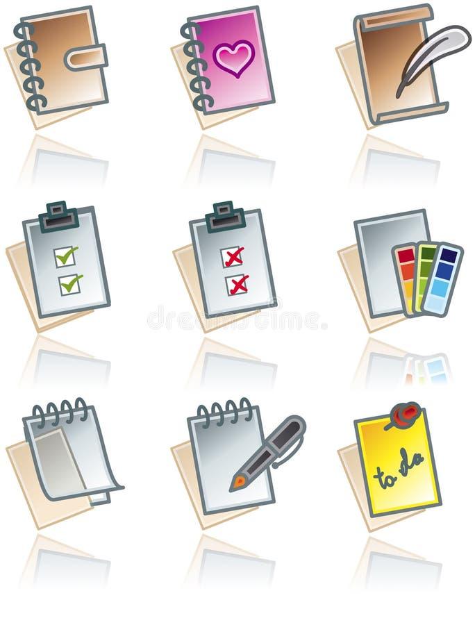Elementos 43c del diseño. Iconos de los trabajos de papel fijados stock de ilustración