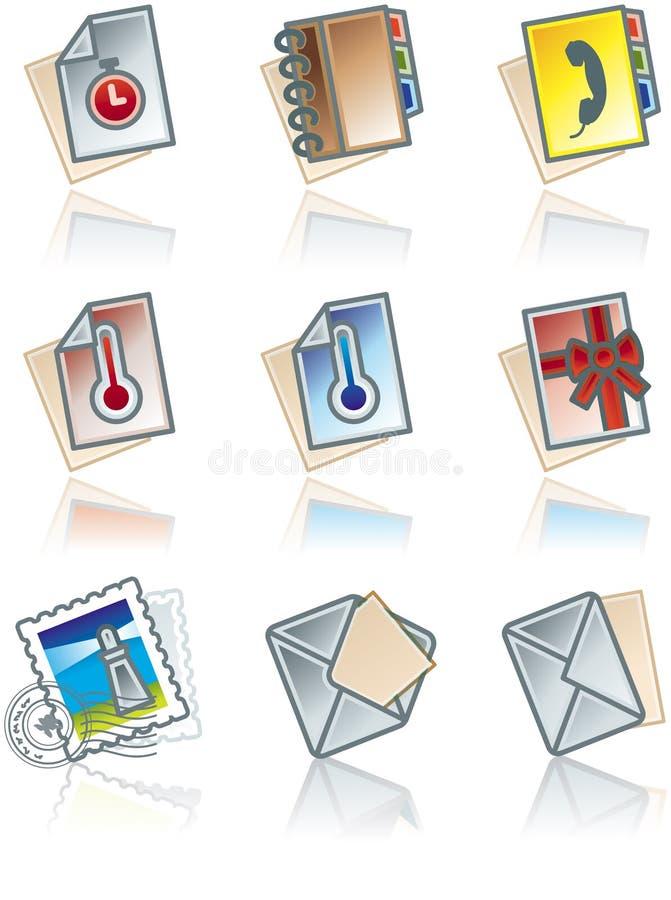 Elementos 43d do projeto. Ícones dos trabalhos de papel ajustados ilustração royalty free