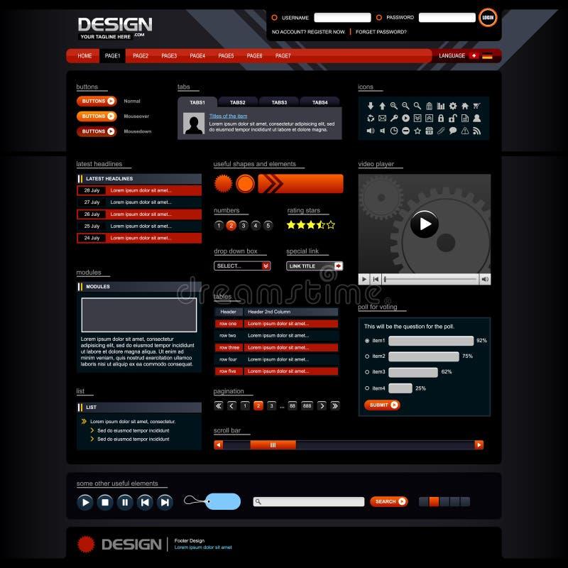 Elementos 5 do projeto de Web (tema escuro) ilustração do vetor