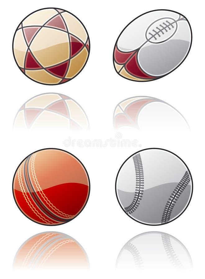 Elementos 50c do projeto. Jogo do ícone das esferas do esporte ilustração do vetor