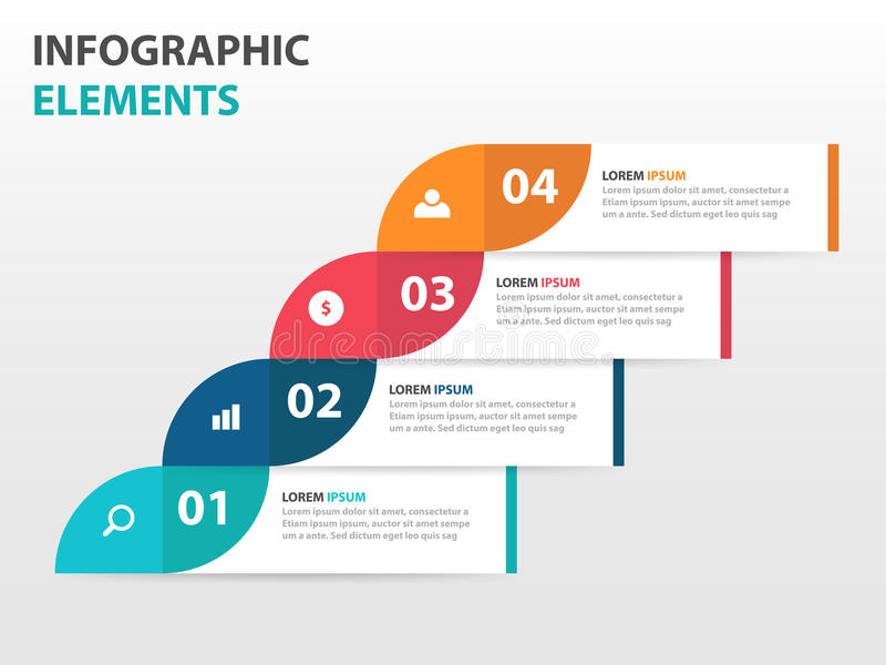 Elementos abstractos de Infographics de la cronología del negocio de la etiqueta, ejemplo plano del vector del diseño de la plant ilustración del vector