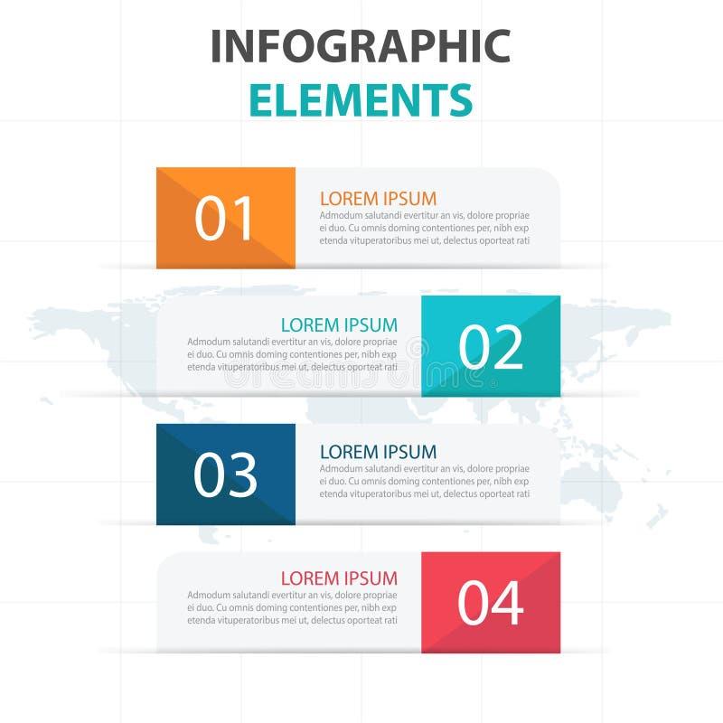 Elementos abstractos de Infographics del negocio de la bandera, ejemplo plano del vector del diseño de la plantilla de la present libre illustration
