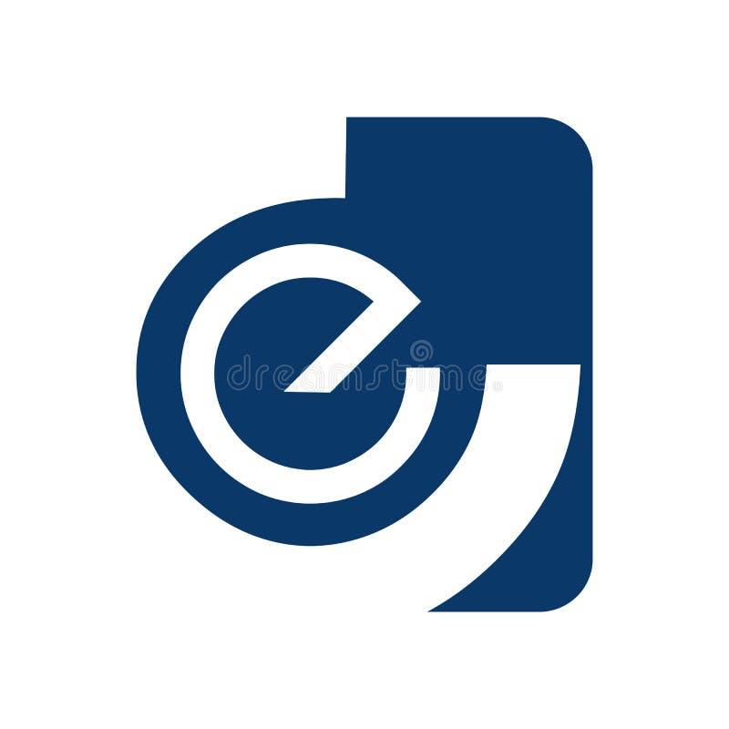 Elementos abstractos de la plantilla del diseño del logotipo de la letra e Letra abstracta stock de ilustración