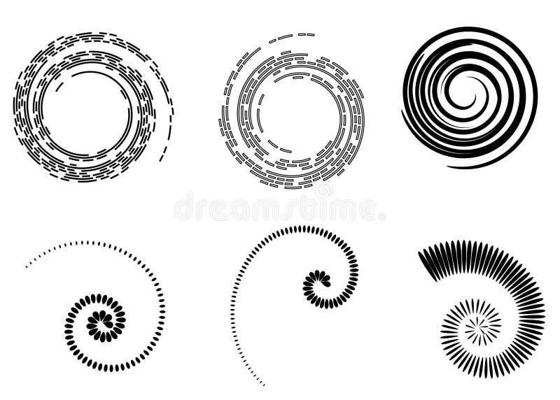 Elementos abstratos da espiral do vetor, testes padrões listrados geométricos radiais ilustração stock