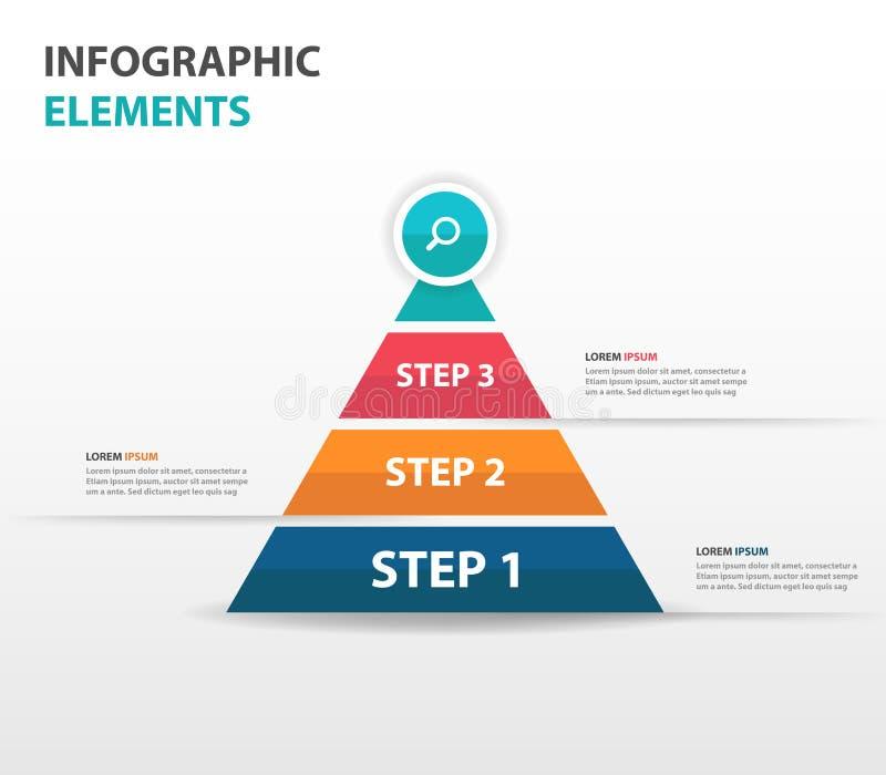Elementos abstratos de Infographics do negócio da seta da pirâmide, ilustração lisa do vetor do projeto do molde da apresentação  ilustração do vetor