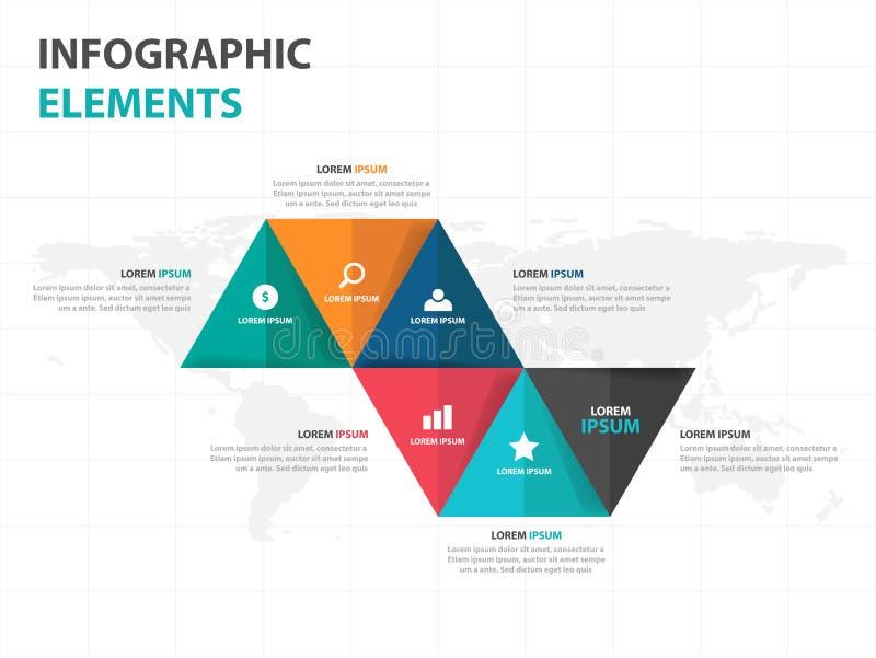 Elementos abstratos de Infographics do negócio do triângulo, ilustração lisa do vetor do projeto do molde da apresentação para o  ilustração do vetor