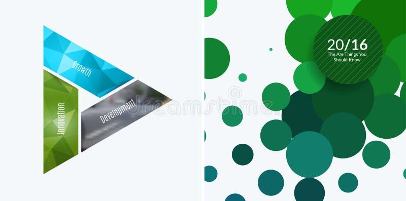 Elementos abstratos do projeto do vetor para a disposição gráfica Molde moderno do fundo do negócio com triângulos coloridos, ilustração royalty free