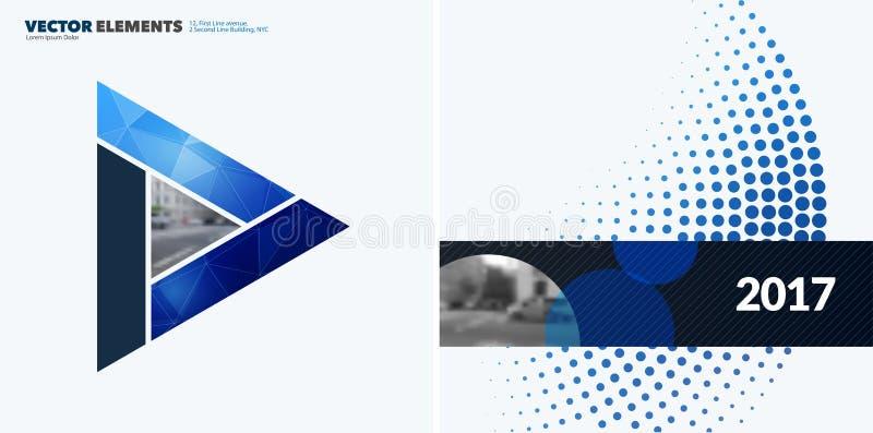 Elementos abstratos do projeto do vetor para a disposição gráfica Molde moderno do fundo do negócio com triângulos coloridos, ilustração stock