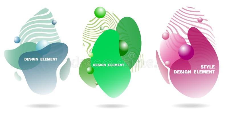 Elementos abstratos do projeto para gráficos e locais da Web, listras, inclinações e gotas abstratas Grupo de elementos gráficos  ilustração royalty free