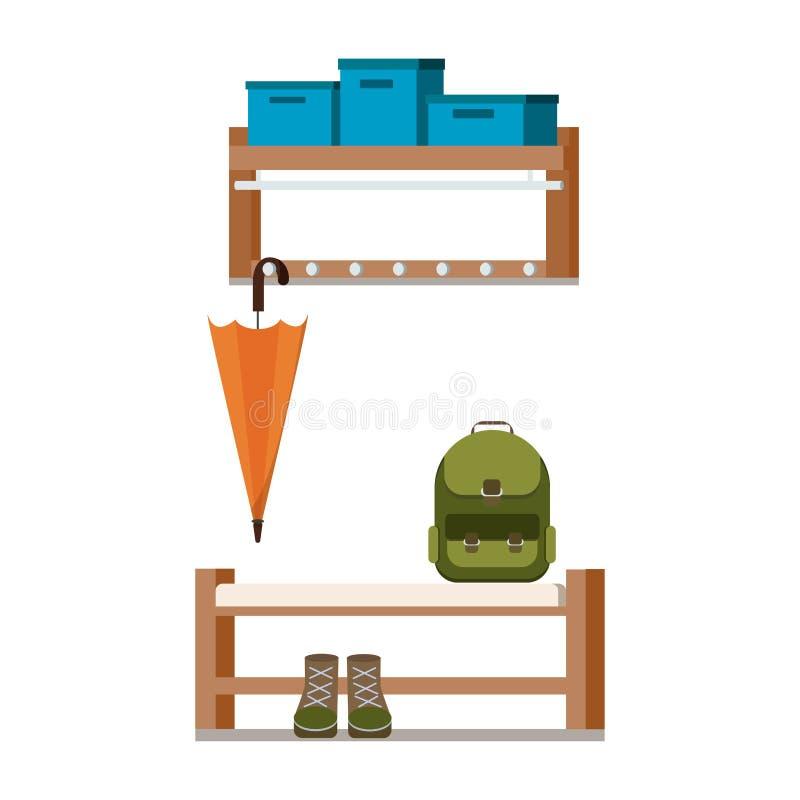 Elementos acolhedores do design de interiores do corredor do salão de entrada da casa ilustração stock