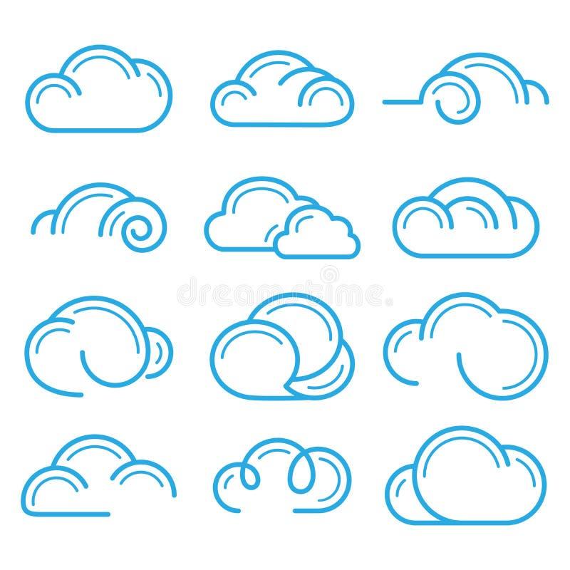 Elementos ajustados do projeto do vetor do ícone do sinal do símbolo do logotipo da nuvem ilustração do vetor
