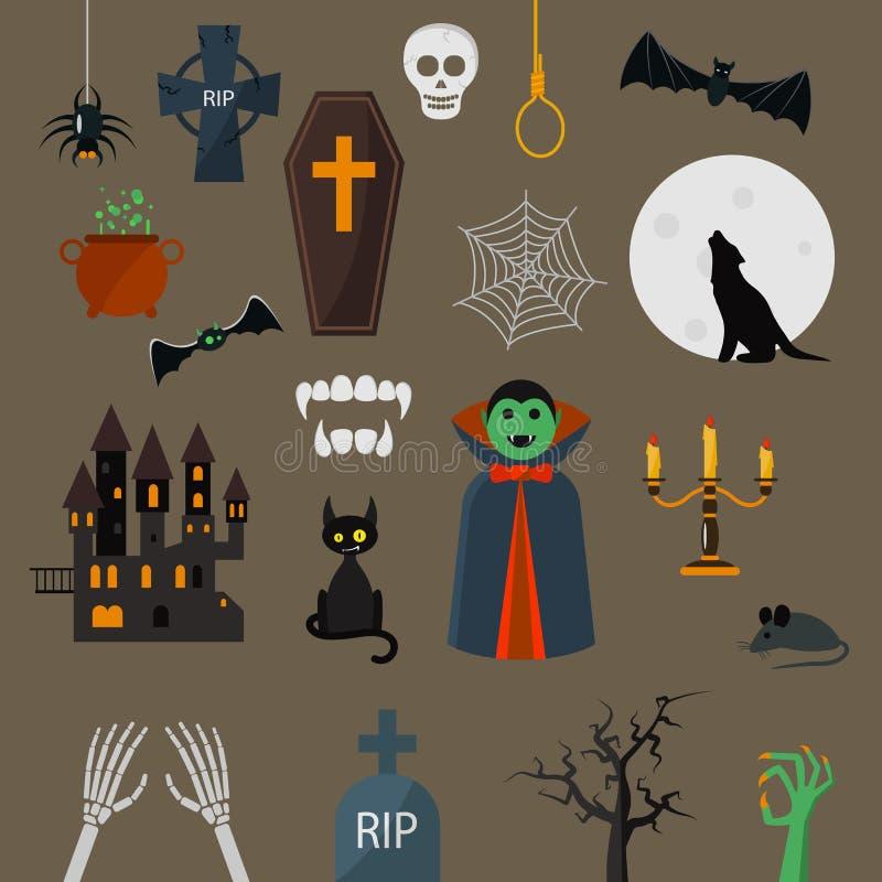 Elementos ajustados dos desenhos animados do projeto de caráter do vampiro do vetor dos ícones de Dracula ilustração stock