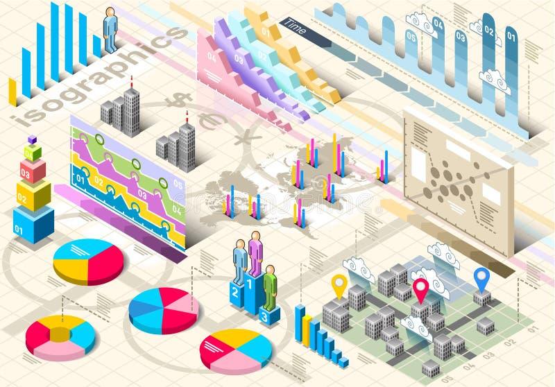 Elementos ajustados isométricos de Infographic ilustração stock